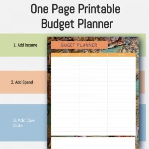One Page Budget Planner
